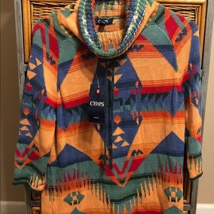 NWT Chaps southwestern sweater turtle neck small